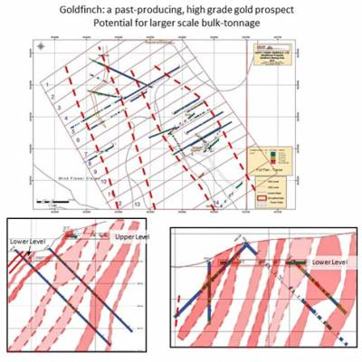 Goldfinch: Drill hole plan and interpretive cross sections. Zones of quartz-carbonate, silicification, quartz veins and stock-work containing gold, silver values.